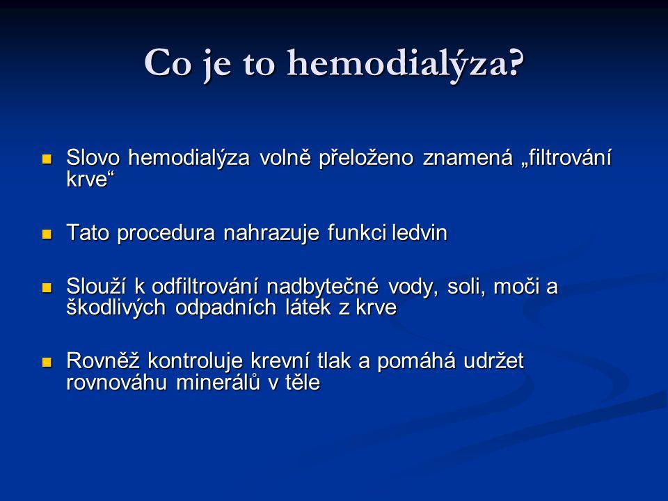 """Co je to hemodialýza? Slovo hemodialýza volně přeloženo znamená """"filtrování krve"""" Slovo hemodialýza volně přeloženo znamená """"filtrování krve"""" Tato pro"""