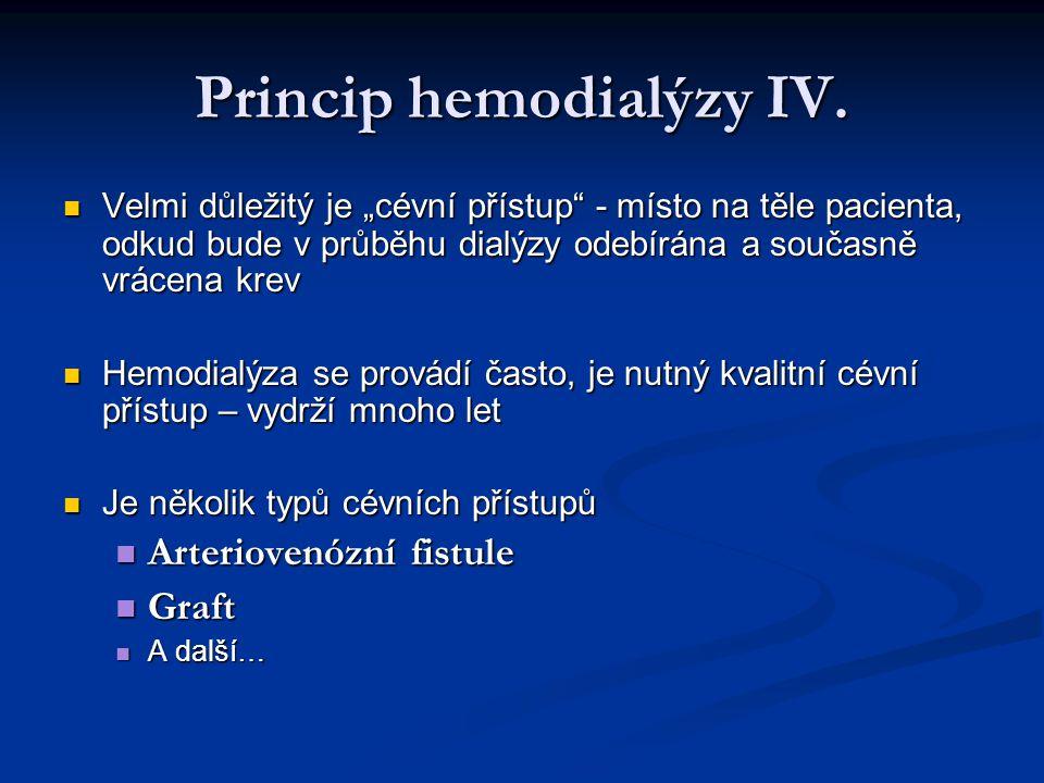 """Princip hemodialýzy IV. Velmi důležitý je """"cévní přístup"""" - místo na těle pacienta, odkud bude v průběhu dialýzy odebírána a současně vrácena krev Vel"""