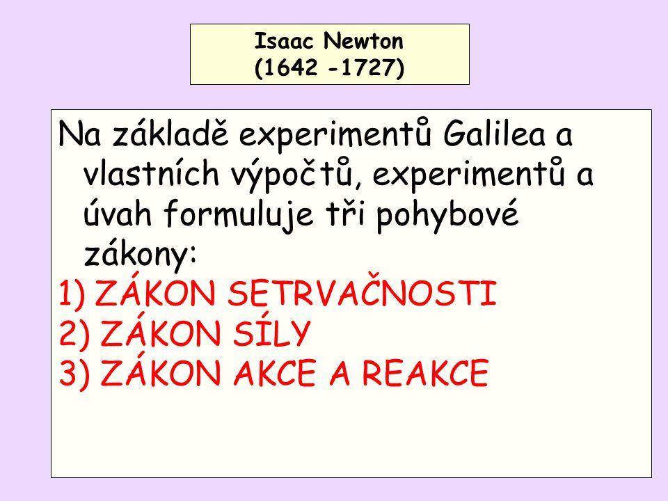 Isaac Newton (1642 -1727) Na základě experimentů Galilea a vlastních výpočtů, experimentů a úvah formuluje tři pohybové zákony: 1) ZÁKON SETRVAČNOSTI 2) ZÁKON SÍLY 3) ZÁKON AKCE A REAKCE