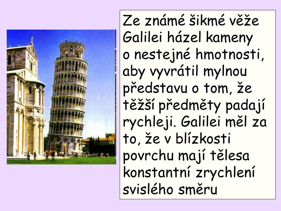Ze známé šikmé věže Galilei házel kameny o nestejné hmotnosti, aby vyvrátil mylnou představu o tom, že těžší předměty padají rychleji. Galilei měl za