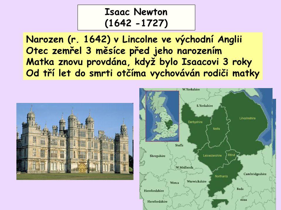 Narozen (r. 1642) v Lincolne ve východní Anglii Otec zemřel 3 měsíce před jeho narozením Matka znovu provdána, když bylo Isaacovi 3 roky Od tří let do