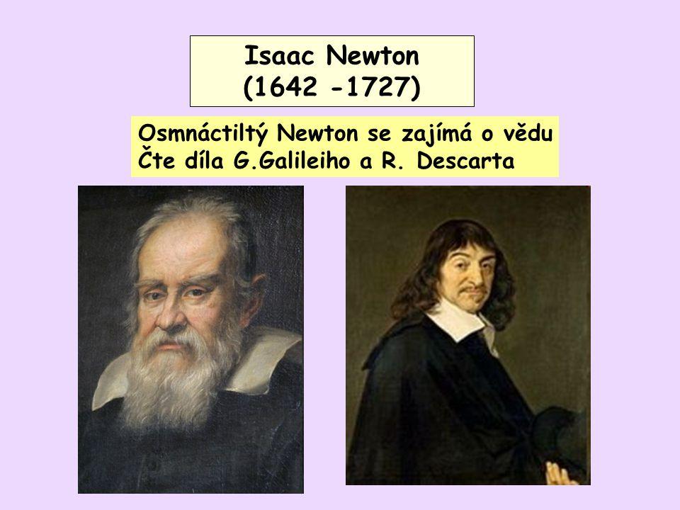 Isaac Newton (1642 -1727) Isaac Newton (1642 -1727) Osmnáctiltý Newton se zajímá o vědu Čte díla G.Galileiho a R. Descarta