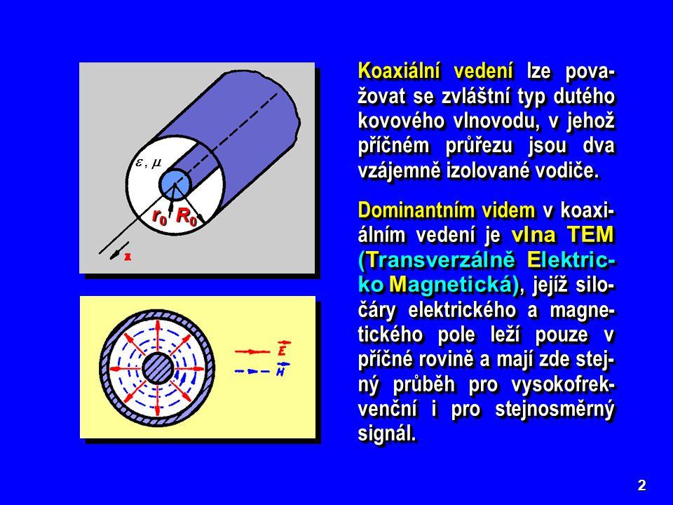 2 Koaxiální vedení lze pova- žovat se zvláštní typ dutého kovového vlnovodu, v jehož příčném průřezu jsou dva vzájemně izolované vodiče.