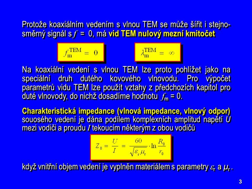 3 Protože koaxiálním vedením s vlnou TEM se může šířit i stejno- směrný signál s f = 0, má vid TEM nulový mezní kmitočet Na koaxiální vedení s vlnou TEM lze proto pohlížet jako na speciální druh dutého kovového vlnovodu.