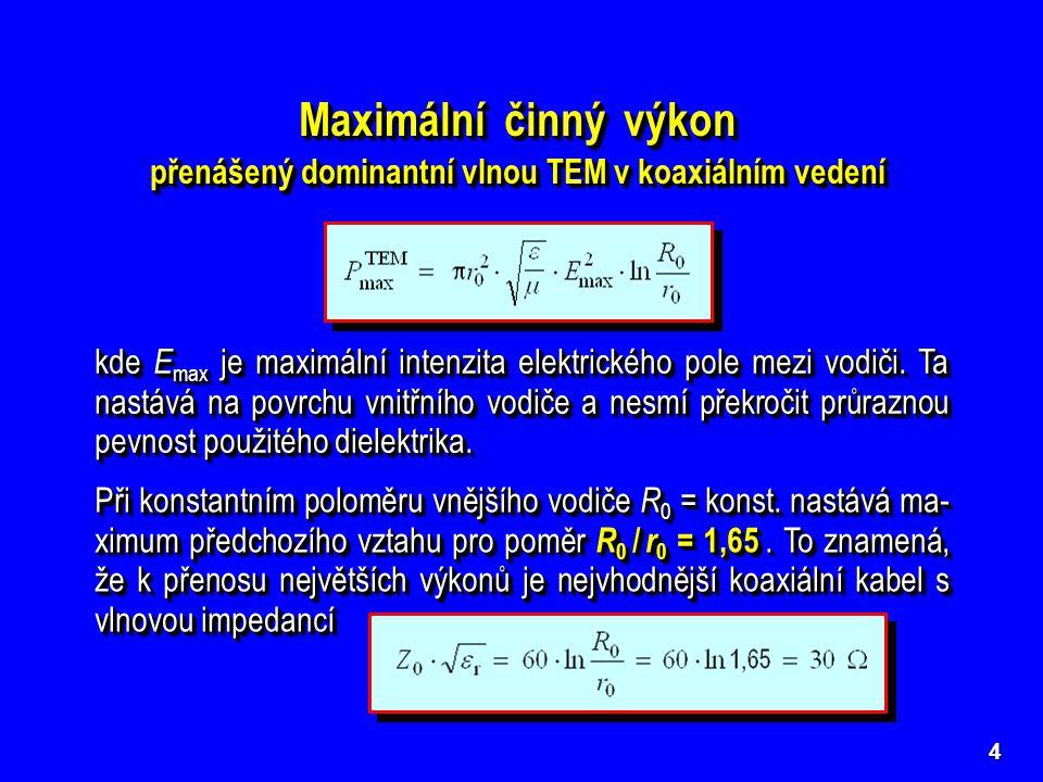 4 Maximální činný výkon přenášený dominantní vlnou TEM v koaxiálním vedení Maximální činný výkon přenášený dominantní vlnou TEM v koaxiálním vedení kde E max je maximální intenzita elektrického pole mezi vodiči.