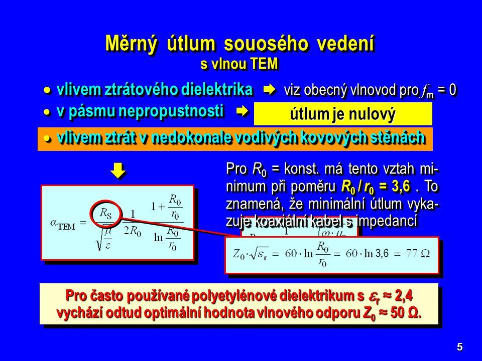 5 Měrný útlum souosého vedení s vlnou TEM Měrný útlum souosého vedení s vlnou TEM  vlivem ztrátového dielektrika  viz obecný vlnovod pro f m = 0  v pásmu nepropustnosti  viz obecný vlnovod pro f m = 0  vlivem ztrátového dielektrika  viz obecný vlnovod pro f m = 0  v pásmu nepropustnosti  viz obecný vlnovod pro f m = 0   vlivem ztrát v nedokonale vodivých kovových stěnách útlum je nulový Pro R 0 = konst.