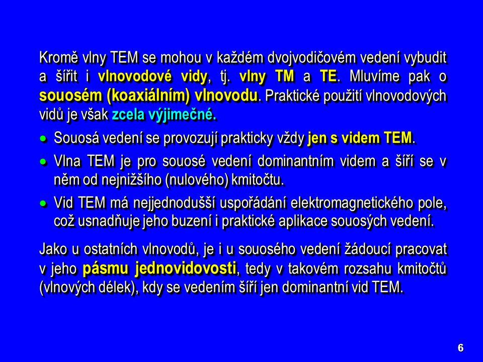 6 Kromě vlny TEM se mohou v každém dvojvodičovém vedení vybudit a šířit i vlnovodové vidy, tj.