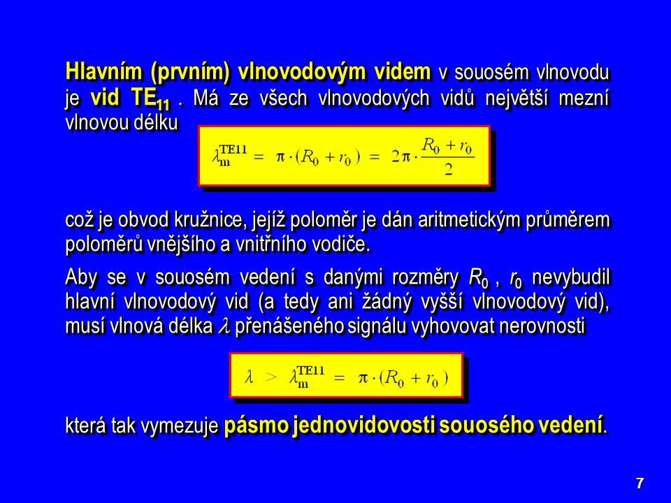 7 Hlavním (prvním) vlnovodovým videm v souosém vlnovodu je vid TE 11.