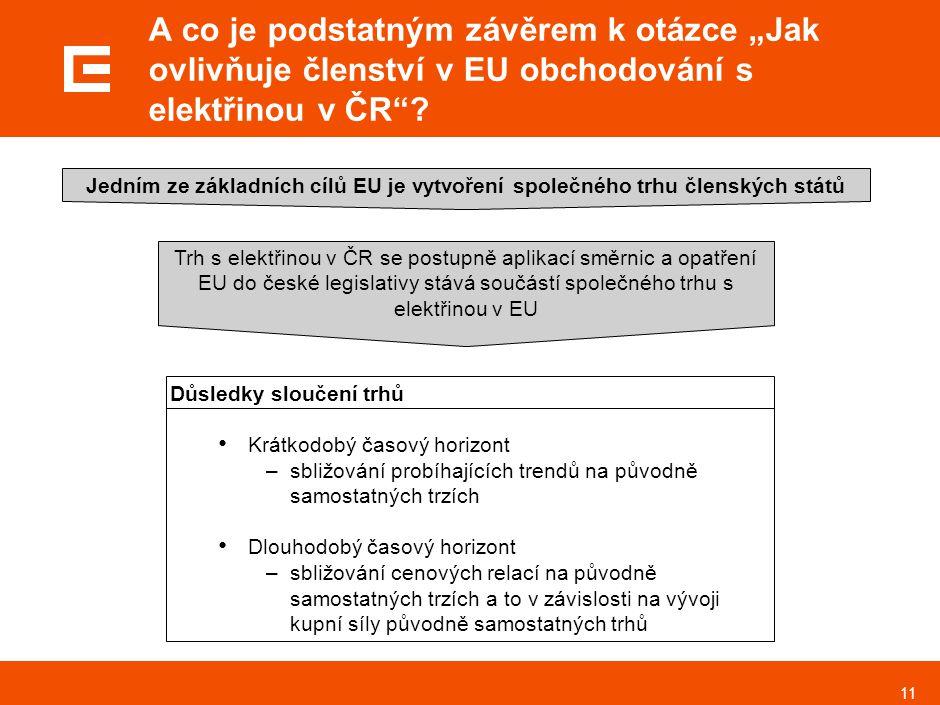 """11 A co je podstatným závěrem k otázce """"Jak ovlivňuje členství v EU obchodování s elektřinou v ČR""""? Jedním ze základních cílů EU je vytvoření společné"""
