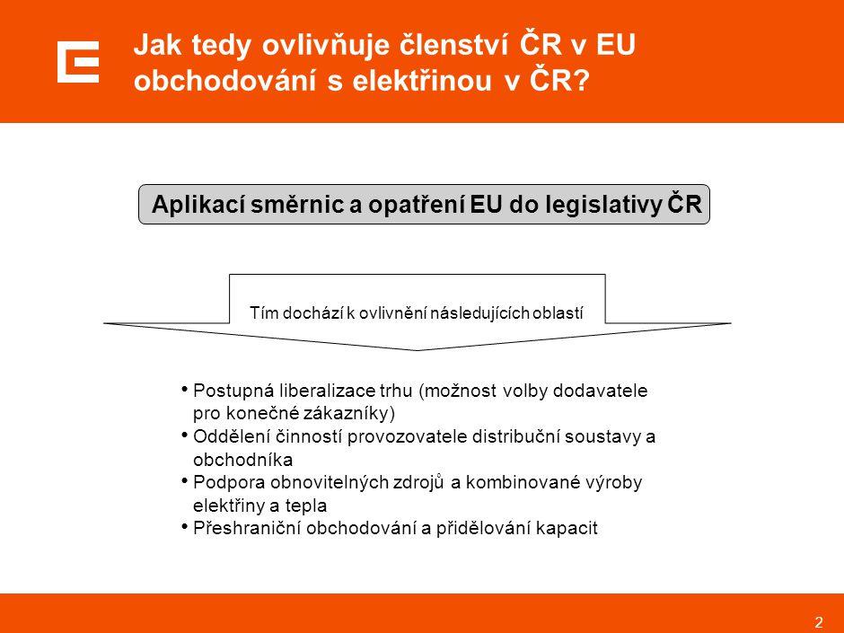 2 Jak tedy ovlivňuje členství ČR v EU obchodování s elektřinou v ČR? Postupná liberalizace trhu (možnost volby dodavatele pro konečné zákazníky) Odděl