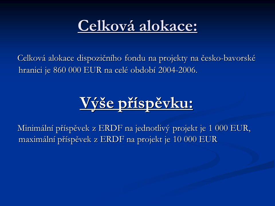 Celková alokace: Celková alokace dispozičního fondu na projekty na česko-bavorské hranici je 860 000 EUR na celé období 2004-2006.