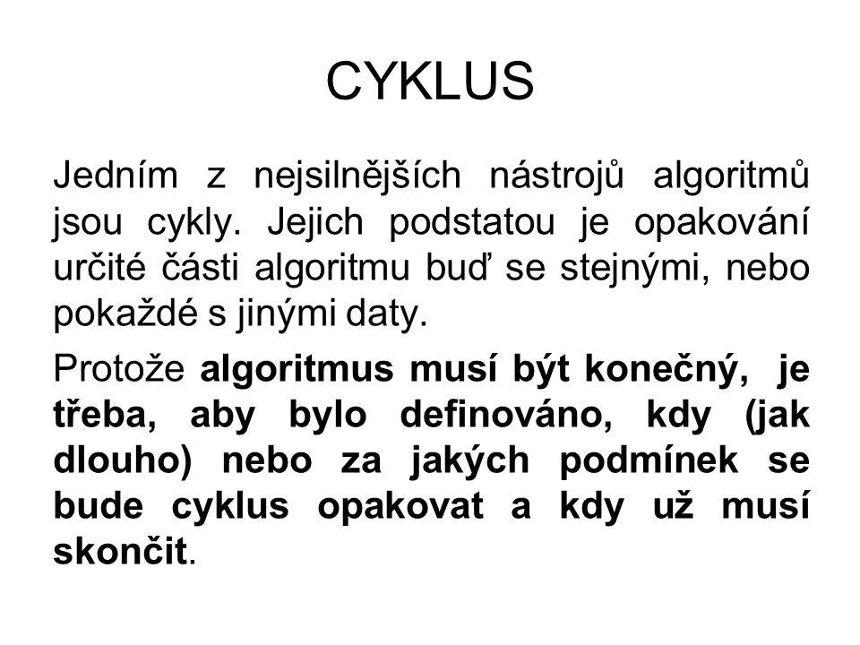 CYKLUS Jedním z nejsilnějších nástrojů algoritmů jsou cykly.