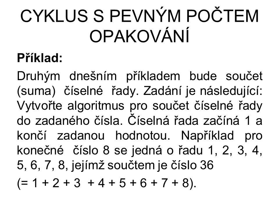 CYKLUS S PEVNÝM POČTEM OPAKOVÁNÍ Příklad: Druhým dnešním příkladem bude součet (suma) číselné řady.
