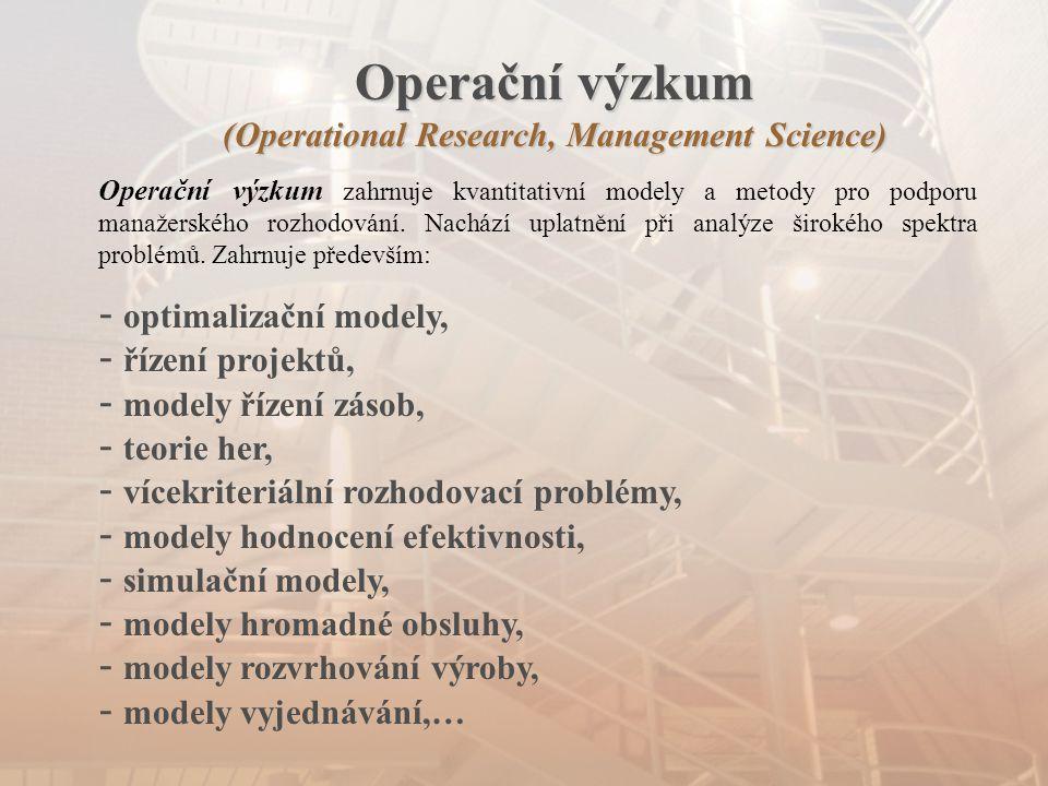 Operační výzkum (Operational Research, Management Science) Operační výzkum zahrnuje kvantitativní modely a metody pro podporu manažerského rozhodování