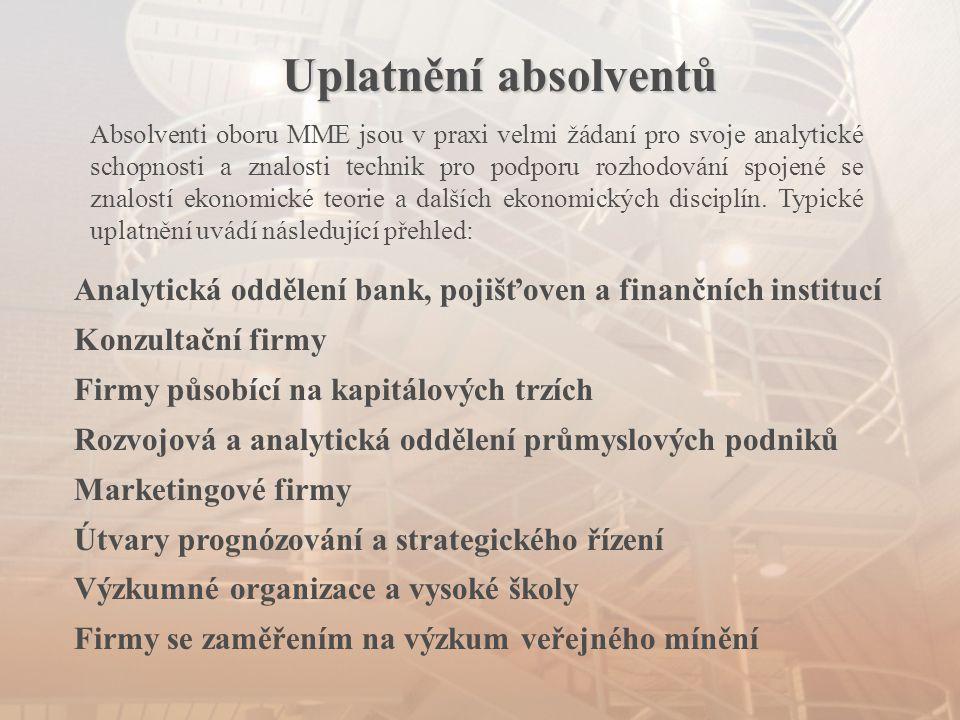 Uplatnění absolventů Analytická oddělení bank, pojišťoven a finančních institucí Konzultační firmy Firmy působící na kapitálových trzích Rozvojová a a