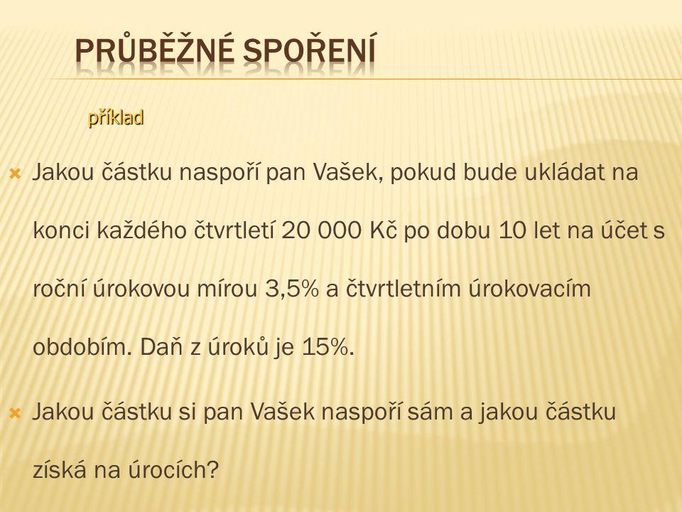  Jakou částku naspoří pan Vašek, pokud bude ukládat na konci každého čtvrtletí 20 000 Kč po dobu 10 let na účet s roční úrokovou mírou 3,5% a čtvrtletním úrokovacím obdobím.