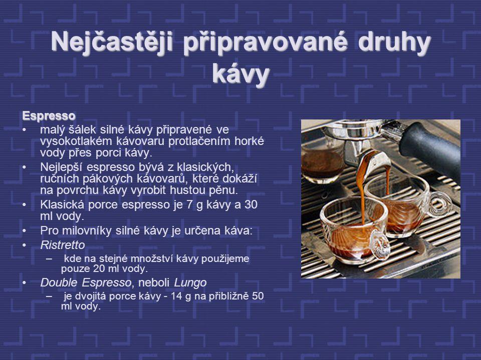 Nejčastěji připravované druhy kávy Espresso malý šálek silné kávy připravené ve vysokotlakém kávovaru protlačením horké vody přes porci kávy.