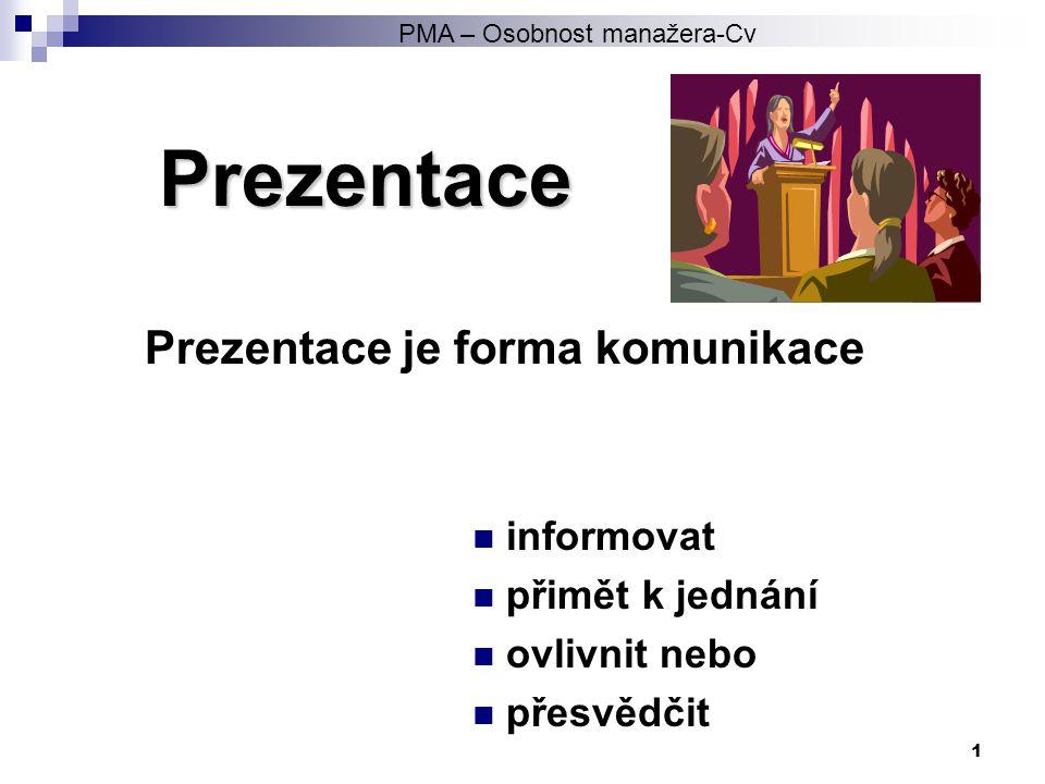 1 PMA – Osobnost manažera-Cv Prezentace je forma komunikace Prezentace informovat přimět k jednání ovlivnit nebo přesvědčit
