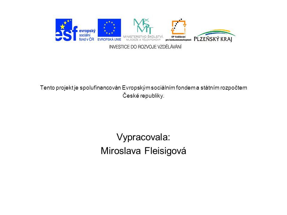Tento projekt je spolufinancován Evropským sociálním fondem a státním rozpočtem České republiky. Vypracovala: Miroslava Fleisigová