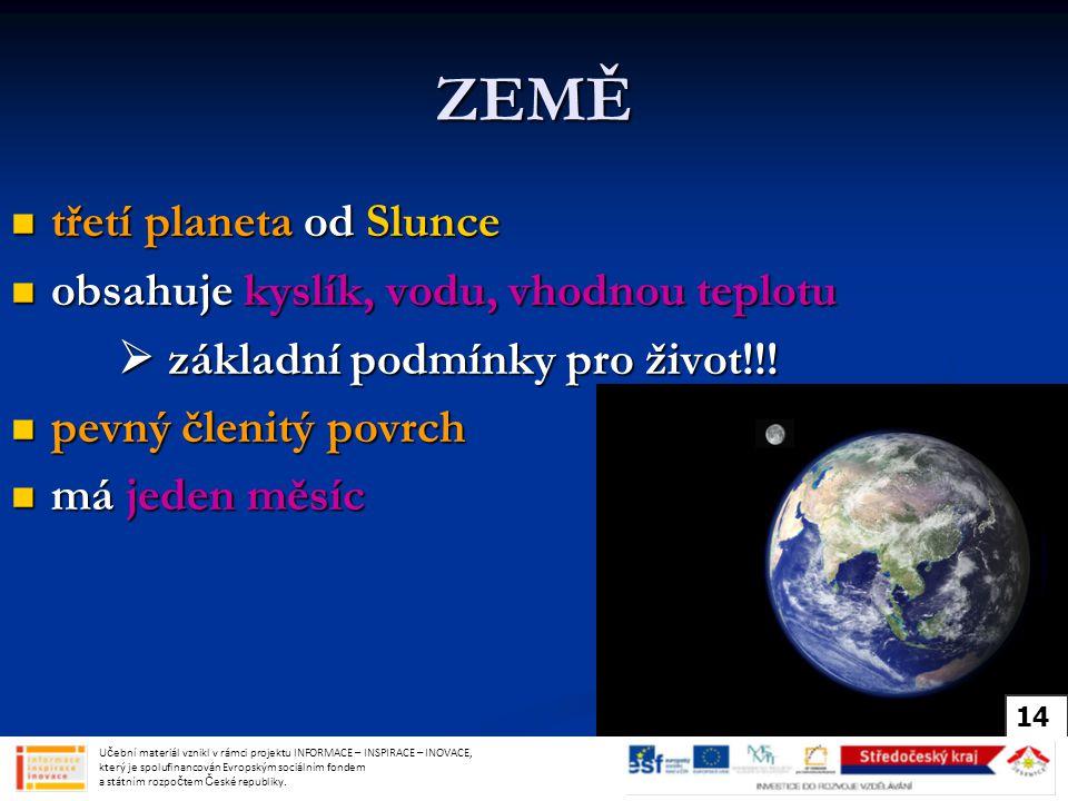 ZEMĚ třetí planeta od Slunce třetí planeta od Slunce obsahuje kyslík, vodu, vhodnou teplotu obsahuje kyslík, vodu, vhodnou teplotu  základní podmínky pro život!!.