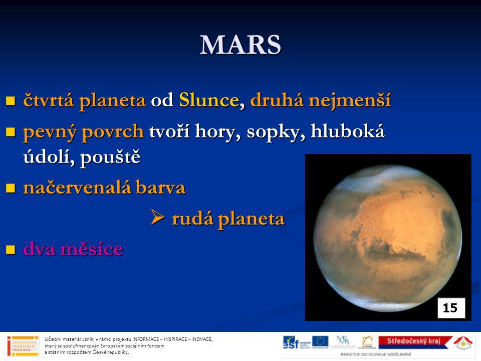 MARS čtvrtá planeta od Slunce, druhá nejmenší čtvrtá planeta od Slunce, druhá nejmenší pevný povrch tvoří hory, sopky, hluboká údolí, pouště pevný povrch tvoří hory, sopky, hluboká údolí, pouště načervenalá barva načervenalá barva  rudá planeta dva měsíce dva měsíce Učební materiál vznikl v rámci projektu INFORMACE – INSPIRACE – INOVACE, který je spolufinancován Evropským sociálním fondem a státním rozpočtem České republiky.