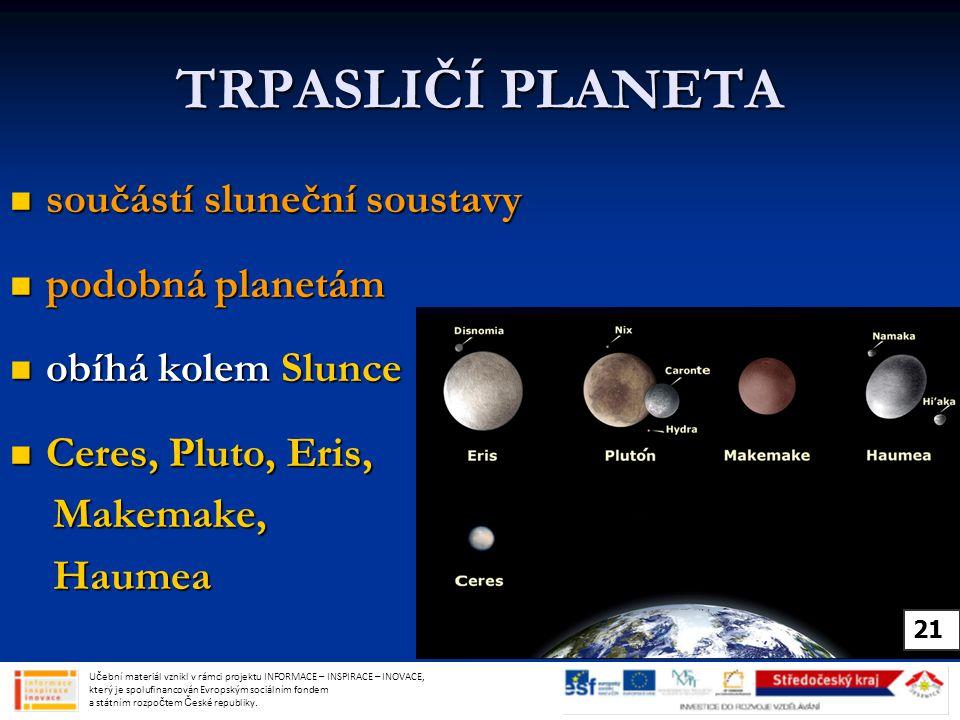 TRPASLIČÍ PLANETA součástí sluneční soustavy součástí sluneční soustavy podobná planetám podobná planetám obíhá kolem Slunce obíhá kolem Slunce Ceres, Pluto, Eris, Ceres, Pluto, Eris, Makemake, Makemake, Haumea Haumea Učební materiál vznikl v rámci projektu INFORMACE – INSPIRACE – INOVACE, který je spolufinancován Evropským sociálním fondem a státním rozpočtem České republiky.