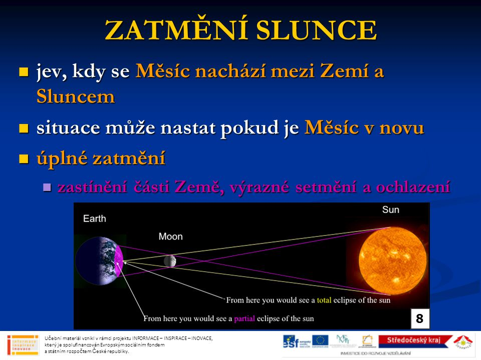 ZATMĚNÍ SLUNCE jev, kdy se Měsíc nachází mezi Zemí a Sluncem jev, kdy se Měsíc nachází mezi Zemí a Sluncem situace může nastat pokud je Měsíc v novu situace může nastat pokud je Měsíc v novu úplné zatmění úplné zatmění zastínění části Země, výrazné setmění a ochlazení zastínění části Země, výrazné setmění a ochlazení Učební materiál vznikl v rámci projektu INFORMACE – INSPIRACE – INOVACE, který je spolufinancován Evropským sociálním fondem a státním rozpočtem České republiky.