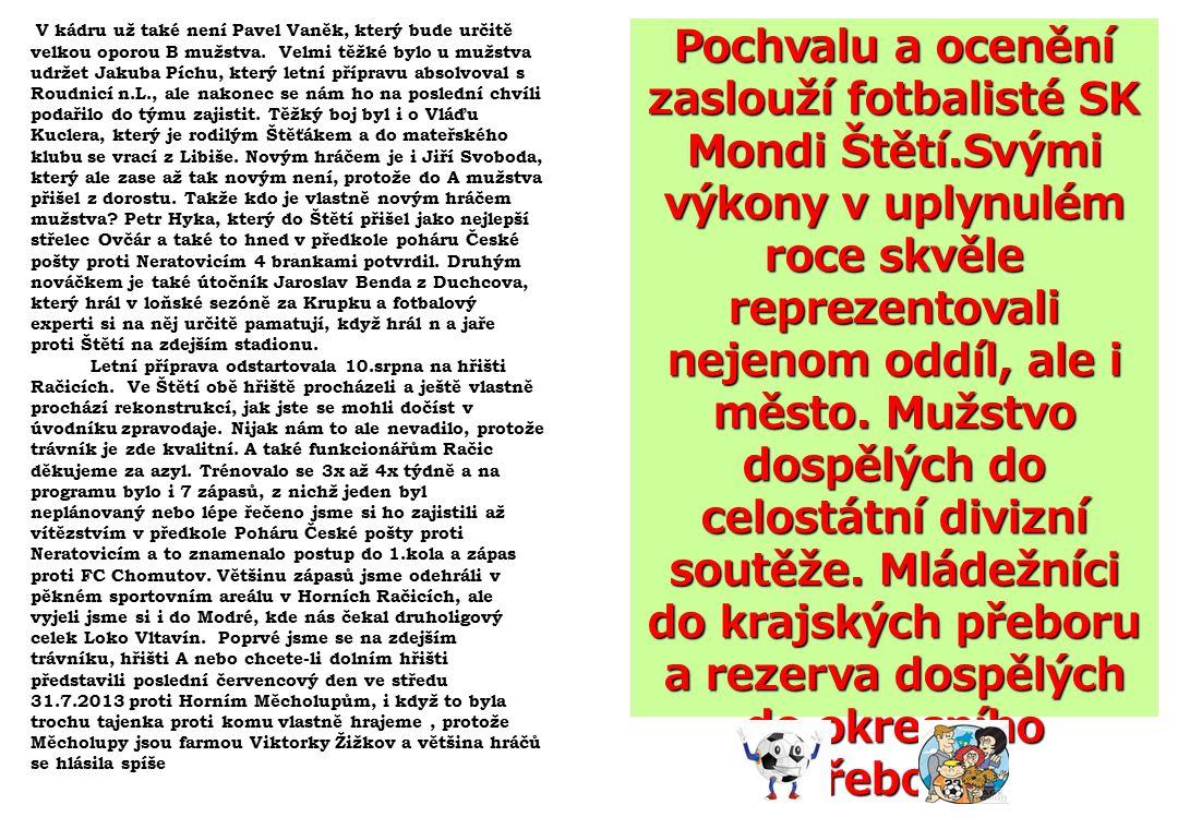 V kádru už také není Pavel Vaněk, který bude určitě velkou oporou B mužstva.