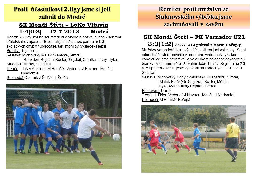 SK Mondi Štětí – LoKo Vltavín 1:4(0:3) 17.7.2013 Modrá Účastník 2.ligy byl na soustředění v Modré a pozval si nás k sehrání přátelského zápasu. Nesehr