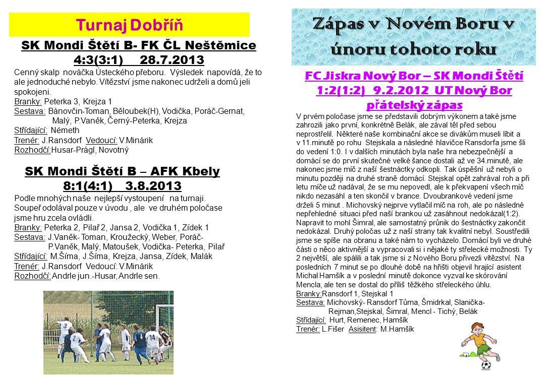 Zápas v Novém Boru v únoru tohoto roku FC Jiskra Nový Bor – SK Mondi Št ě tí 1:2(1:2) 9.2.2012 UT Nový Bor p ř átelský zápas V prvém poločase jsme se představili dobrým výkonem a také jsme zahrozili jako první, konkrétně Belák, ale zával těl před sebou neprostřelil.