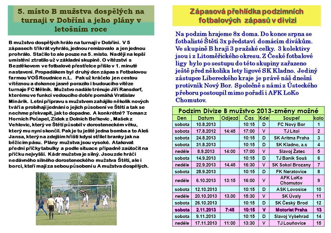 Na podzim hrajeme 8x doma.Do konce srpna se fotbalisté Štětí 3x představí domácím divákům.