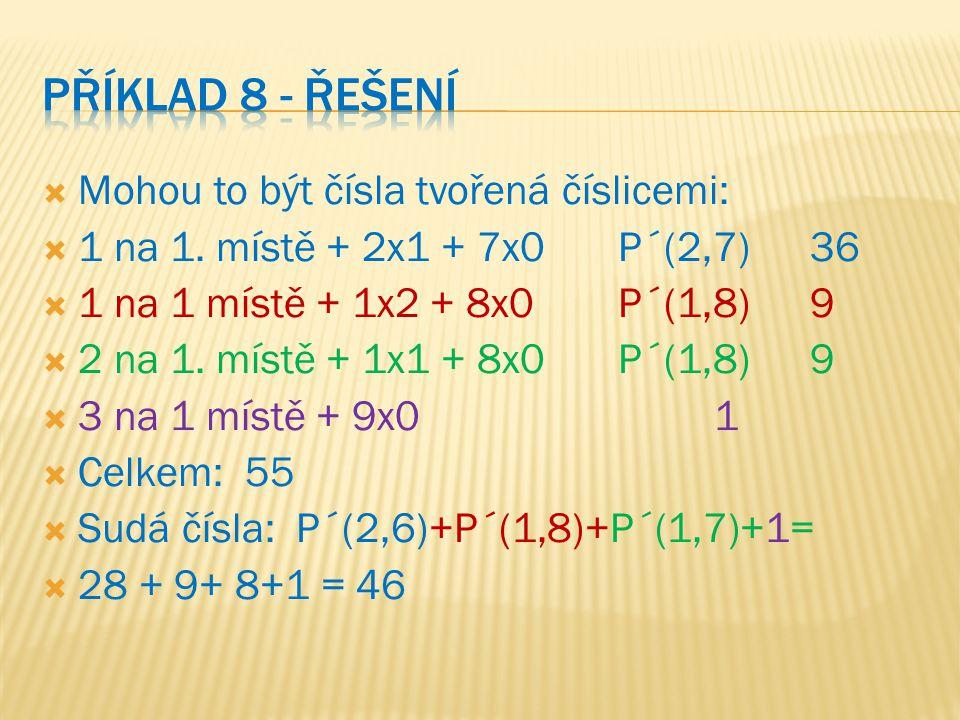  Mohou to být čísla tvořená číslicemi:  1 na 1. místě + 2x1 + 7x0P´(2,7)36  1 na 1 místě + 1x2 + 8x0P´(1,8)9  2 na 1. místě + 1x1 + 8x0P´(1,8)9 