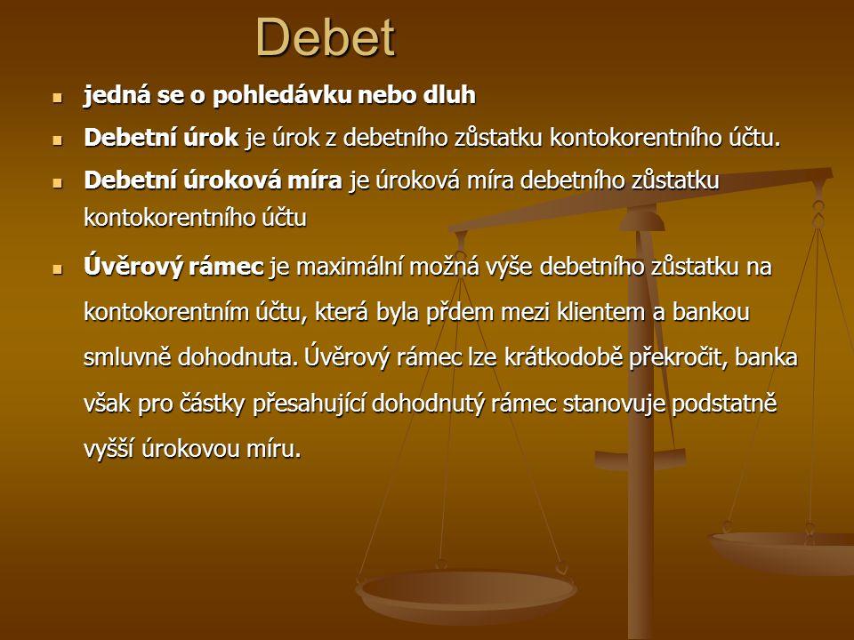 jedná se o pohledávku nebo dluh jedná se o pohledávku nebo dluh Debetní úrok je úrok z debetního zůstatku kontokorentního účtu.