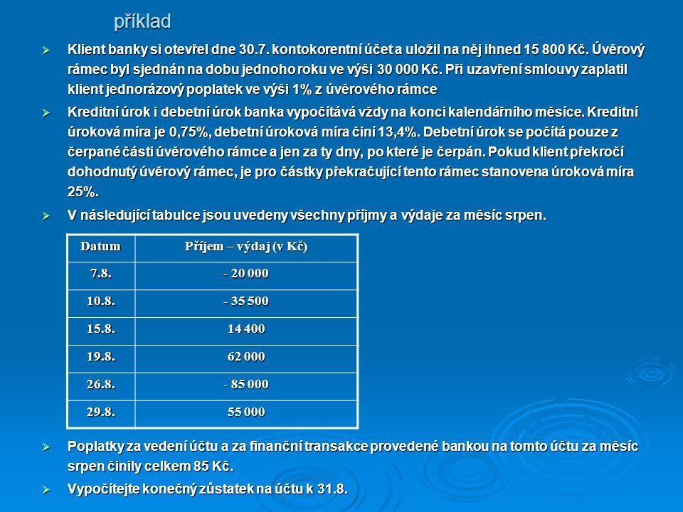 Klient banky si otevřel dne 30.7. kontokorentní účet a uložil na něj ihned 15 800 Kč.