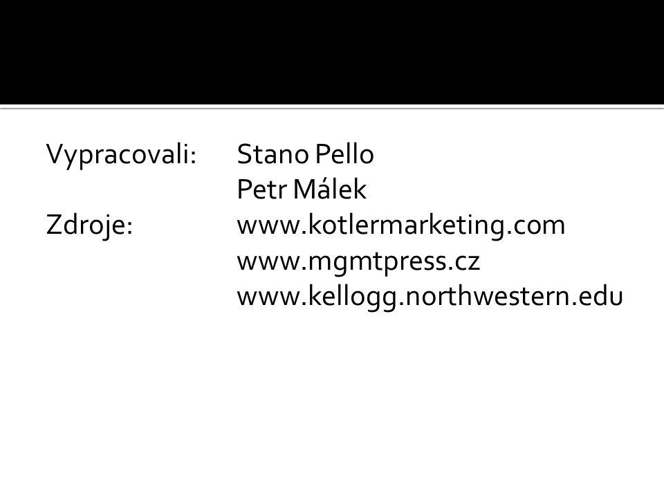 Vypracovali:Stano Pello Petr Málek Zdroje: www.kotlermarketing.com www.mgmtpress.cz www.kellogg.northwestern.edu