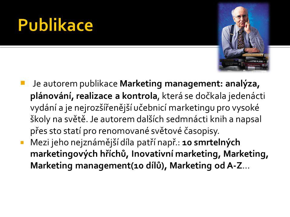  Je autorem publikace Marketing management: analýza, plánování, realizace a kontrola, která se dočkala jedenácti vydání a je nejrozšířenější učebnicí marketingu pro vysoké školy na světě.