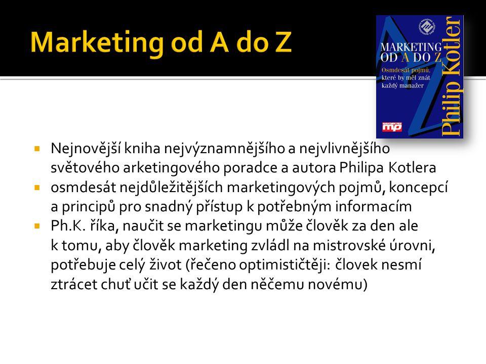  Nejnovější kniha nejvýznamnějšího a nejvlivnějšího světového arketingového poradce a autora Philipa Kotlera  osmdesát nejdůležitějších marketingových pojmů, koncepcí a principů pro snadný přístup k potřebným informacím  Ph.K.