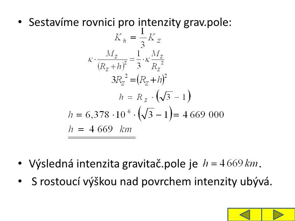 Sestavíme rovnici pro intenzity grav.pole: Výsledná intenzita gravitač.pole je.