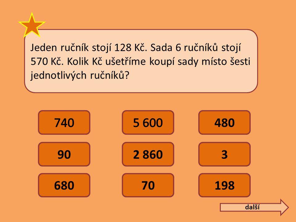 Jeden ručník stojí 128 Kč. Sada 6 ručníků stojí 570 Kč.
