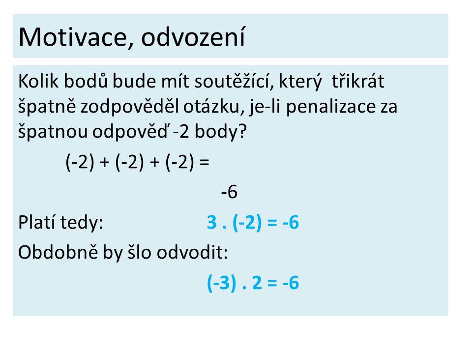 Motivace, odvození Kolik bodů bude mít soutěžící, který třikrát špatně zodpověděl otázku, je-li penalizace za špatnou odpověď -2 body? (-2) + (-2) + (