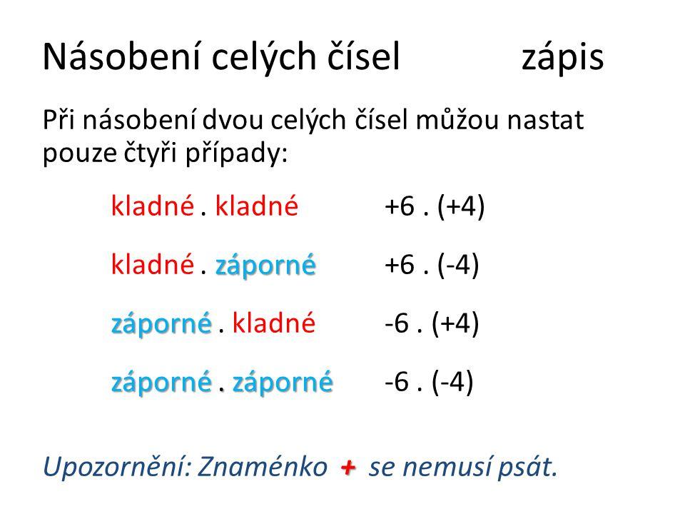 Násobení celých číselzápis Při násobení dvou celých čísel můžou nastat pouze čtyři případy: kladné. kladné+6. (+4) záporné kladné. záporné+6. (-4) záp