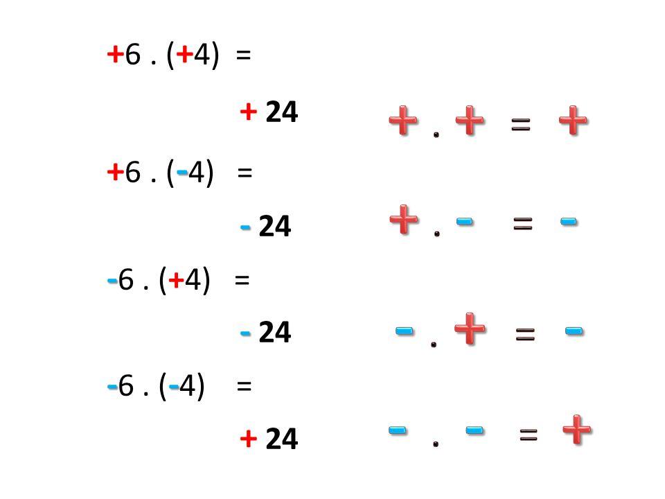 + 6. ( + 4) = + 24 - + 6. ( - 4) = - - 24 - - 6. (+4) = - - 24 -- - 6. ( - 4) = + 24