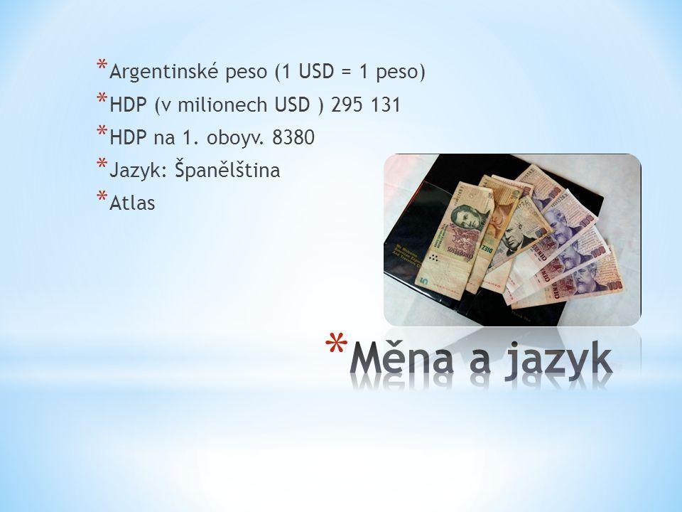 * Argentinské peso (1 USD = 1 peso) * HDP (v milionech USD ) 295 131 * HDP na 1.