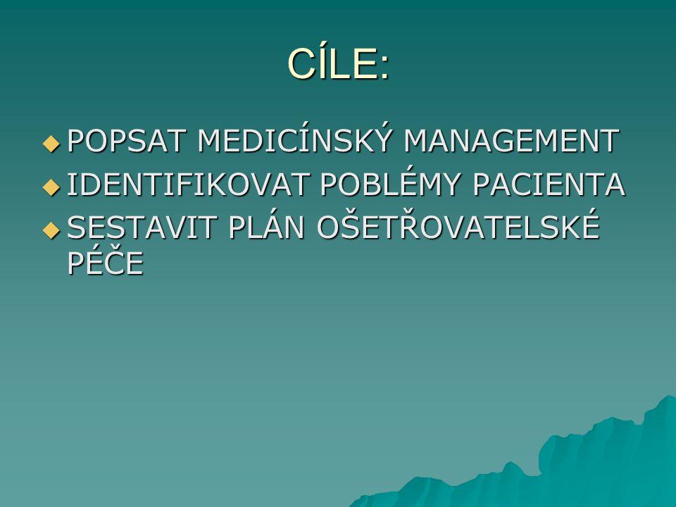 CÍLE:  POPSAT MEDICÍNSKÝ MANAGEMENT  IDENTIFIKOVAT POBLÉMY PACIENTA  SESTAVIT PLÁN OŠETŘOVATELSKÉ PÉČE