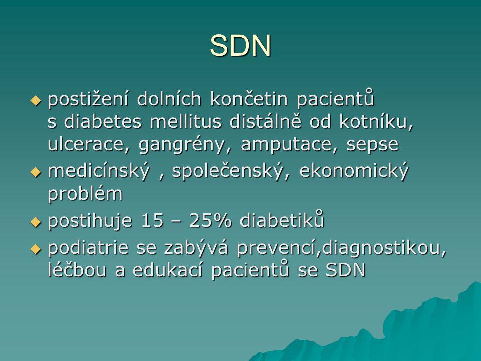 SDN  postižení dolních končetin pacientů s diabetes mellitus distálně od kotníku, ulcerace, gangrény, amputace, sepse  medicínský, společenský, ekonomický problém  postihuje 15 – 25% diabetiků  podiatrie se zabývá prevencí,diagnostikou, léčbou a edukací pacientů se SDN