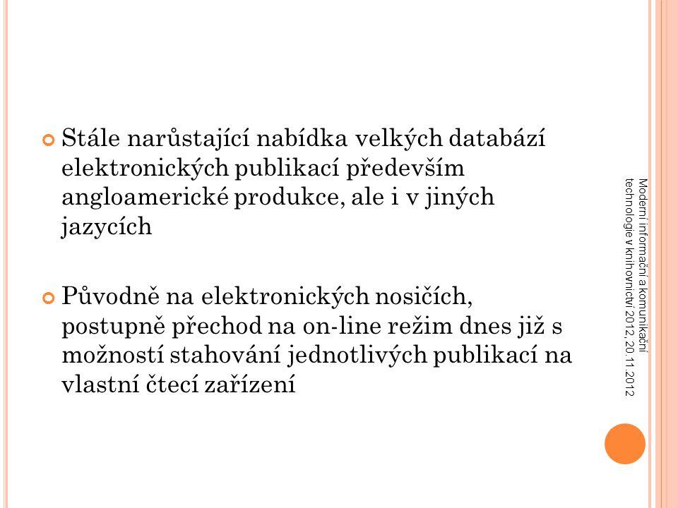 """S ITUACE V KNIHOVNÁCH Moderní informační a komunikační technologie v knihovnictví 2012, 20.11.2012 Stále narůstající finanční náklady na roční předplatné velkých databází elektronických publikací (periodických a neperiodických) Důsledkem ekonomické krize je všeobecné krácení akvizičních rozpočtů, takže je nutno maximálně šetřit finance Složení databází (""""balíčků ) se nedá ovlivnit Většinou knihovna neví předem, jaké nové tituly budou zařazeny do databáze během další aktualizace a jaké budou z ní vyřazeny Zdaleka ne všechny e- publikace jsou čtenářsky využívány"""