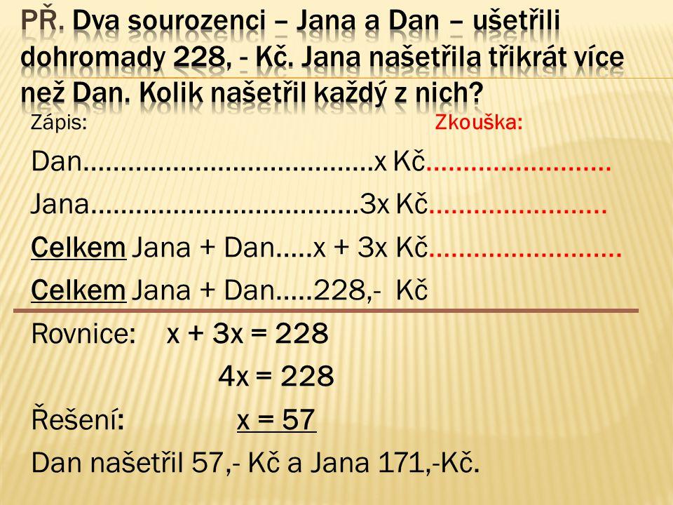 Zápis: Zkouška: Dan…………………………………x Kč……………………. Jana………………………………3x Kč…………………...