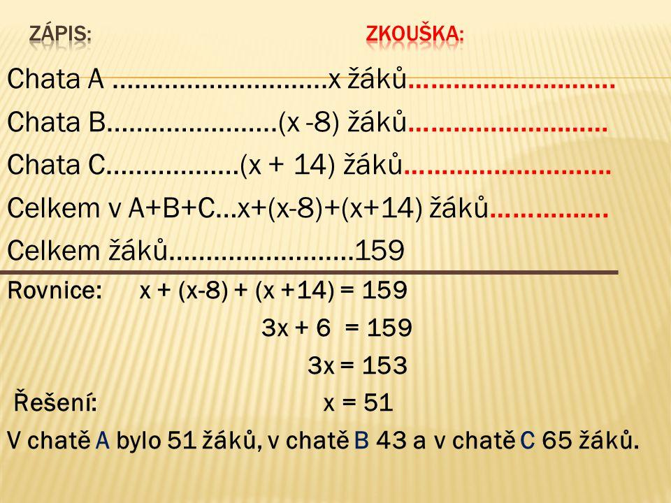 Chata A ………………………..x žáků……………………….