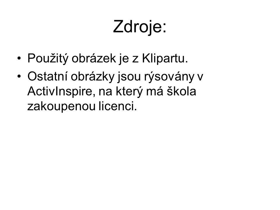 Zdroje: Použitý obrázek je z Klipartu. Ostatní obrázky jsou rýsovány v ActivInspire, na který má škola zakoupenou licenci.