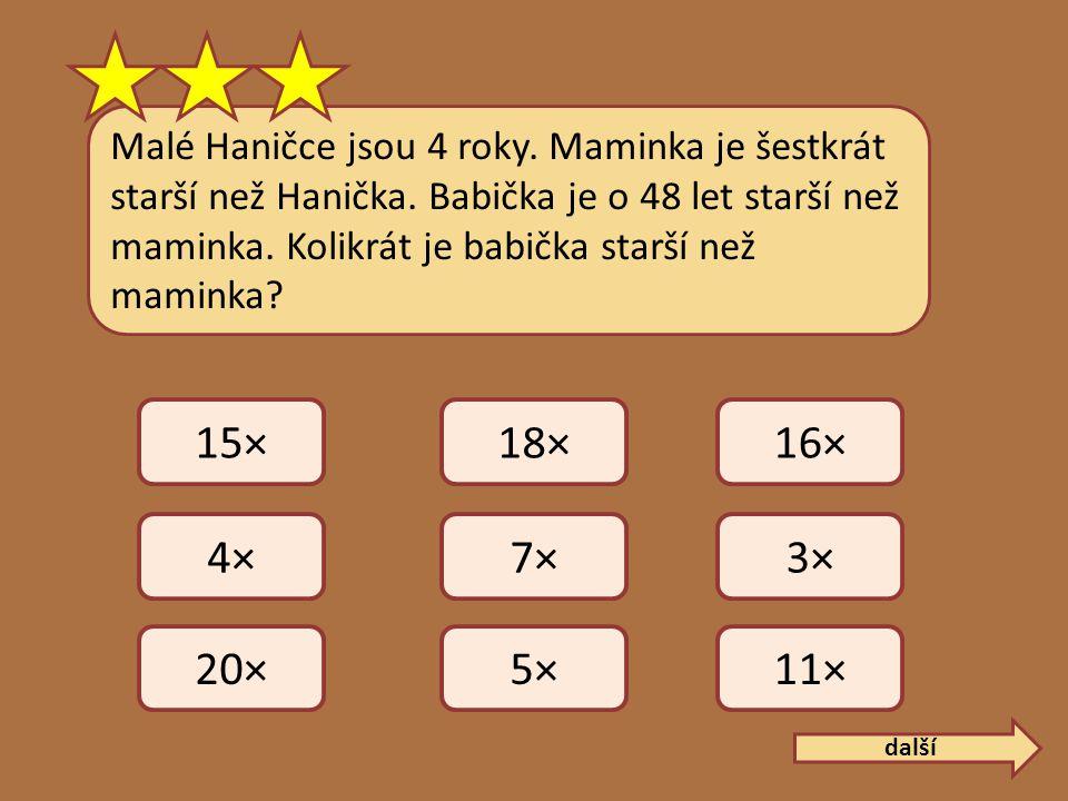 Malé Haničce jsou 4 roky. Maminka je šestkrát starší než Hanička.